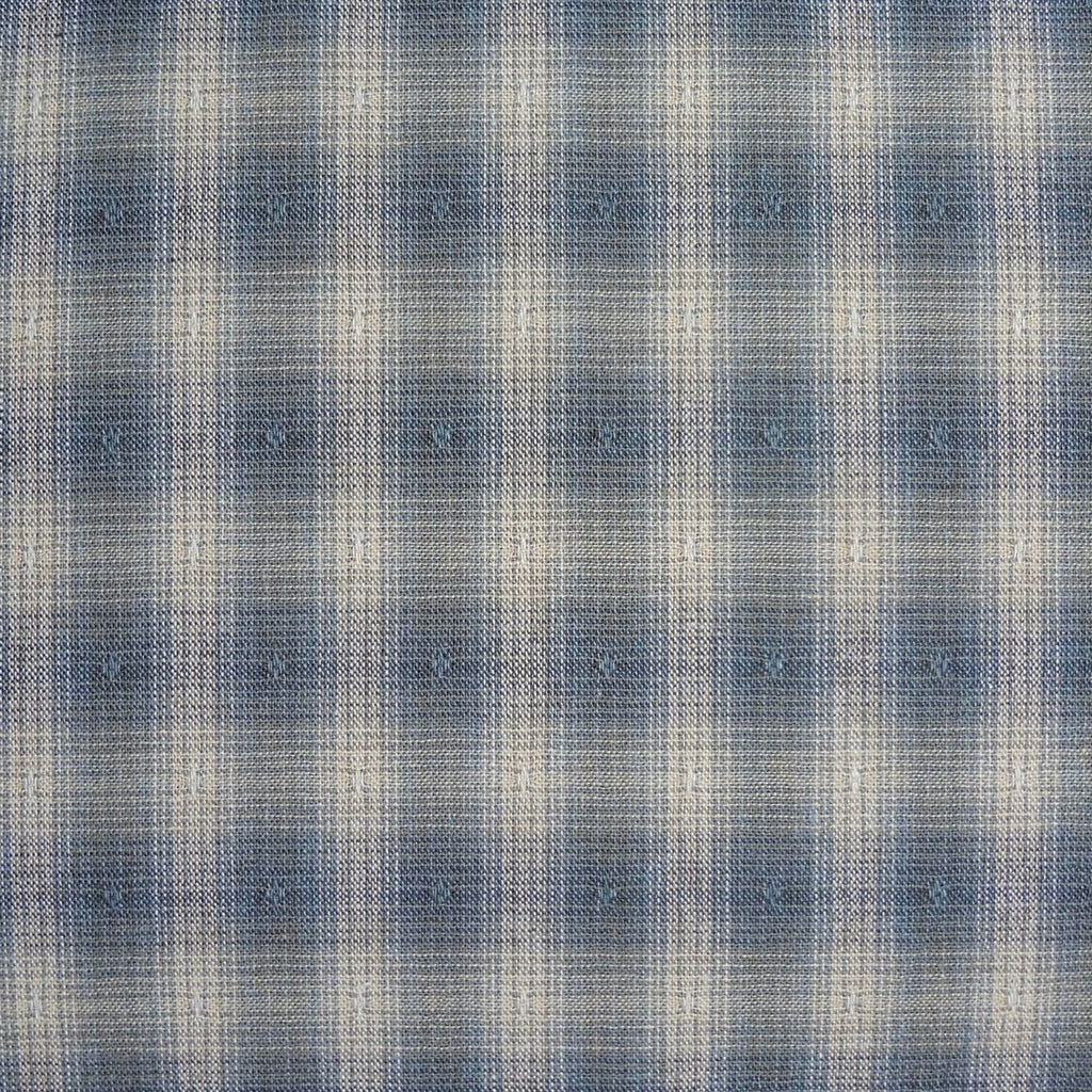 Japanese Yarn Dye - Blue Fuzzy Bold Plaid