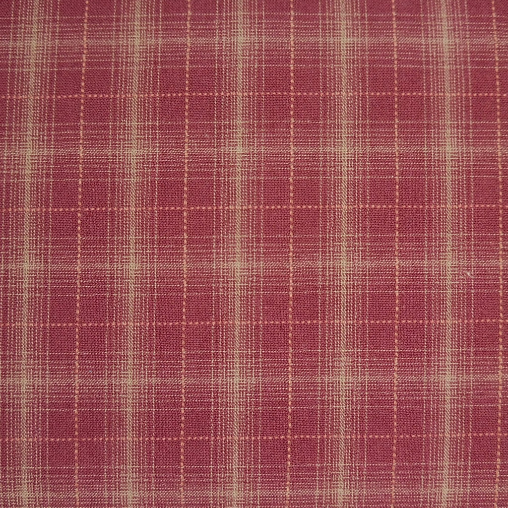 Japanese Yarn Dye - Burgundy Wide Square Plaid