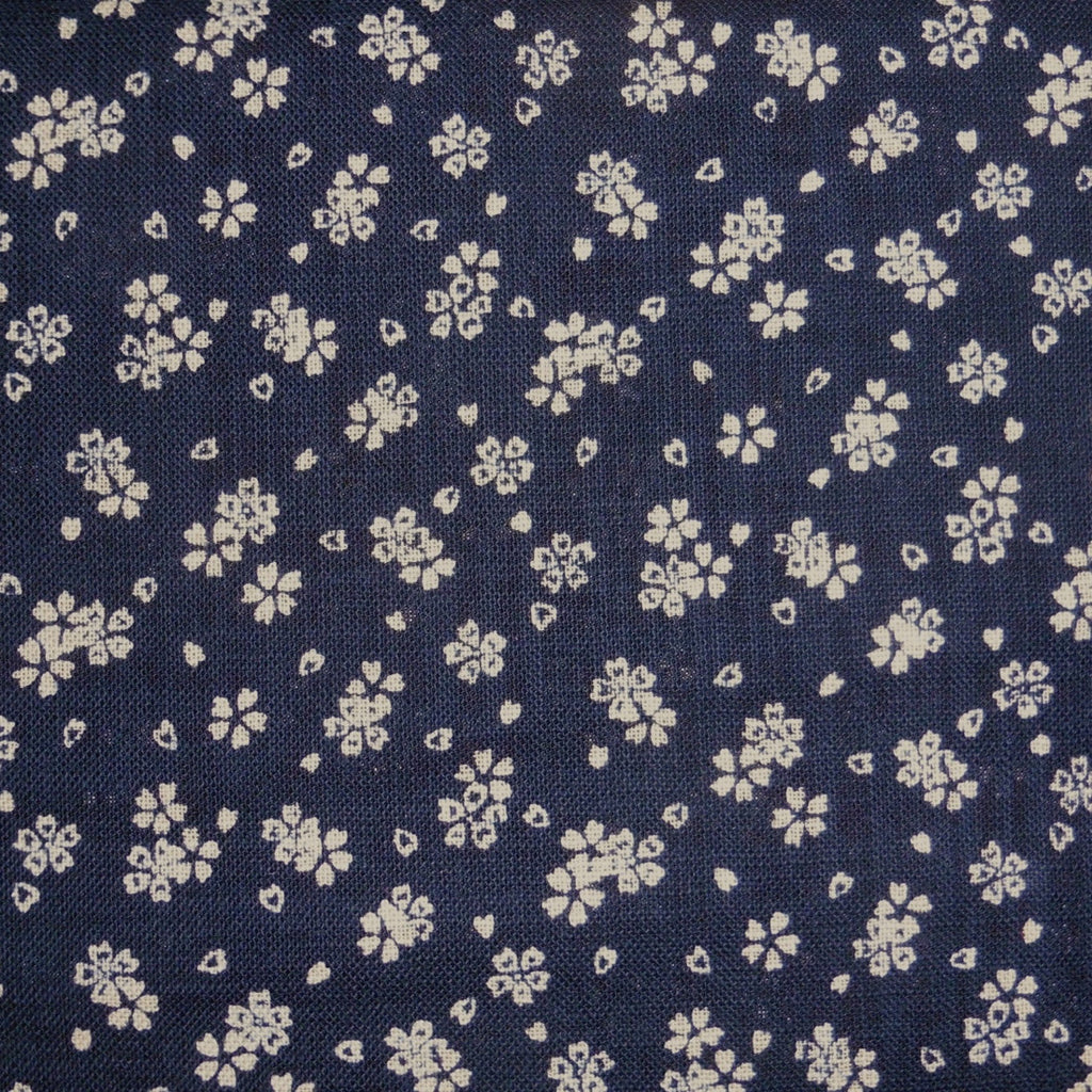 Japanese Dobby Cloth - Plush Navy Cherry Blossom