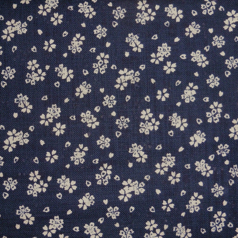 Japanese Dobby Cloth - OVERSTOCK - Plush Navy Cherry Blossom