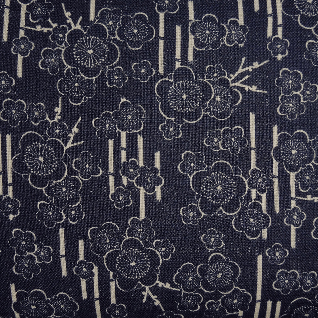 Japanese Dobby Cloth - Dark Blue Plush Cherry Blossom on Bamboo