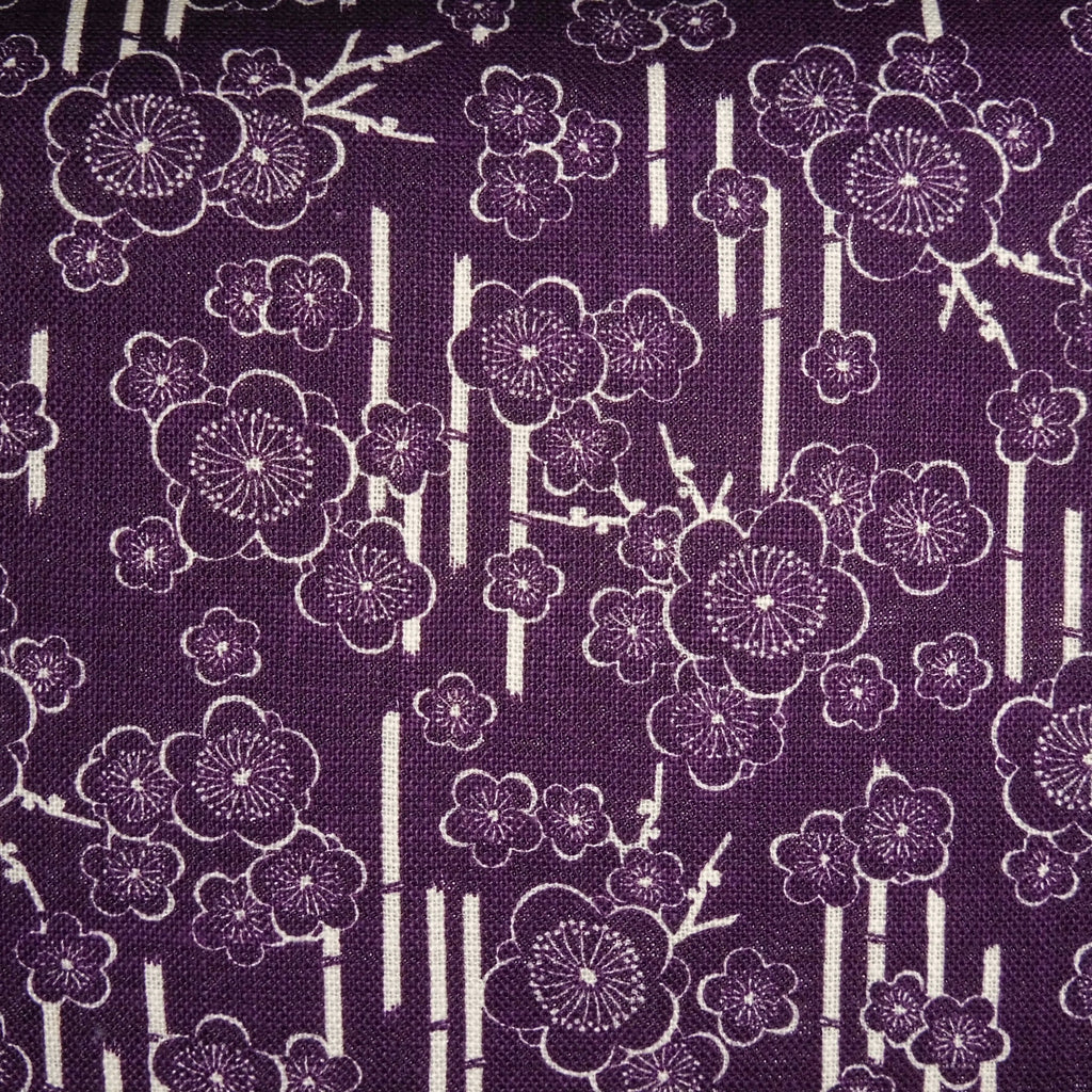 Japanese Dobby Cloth - Purple Plush Cherry Blossom on Bamboo
