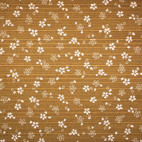 Japanese Dobby Cloth - Reversible Gold Cherry Blossom/Dark Green Hemp Leaf