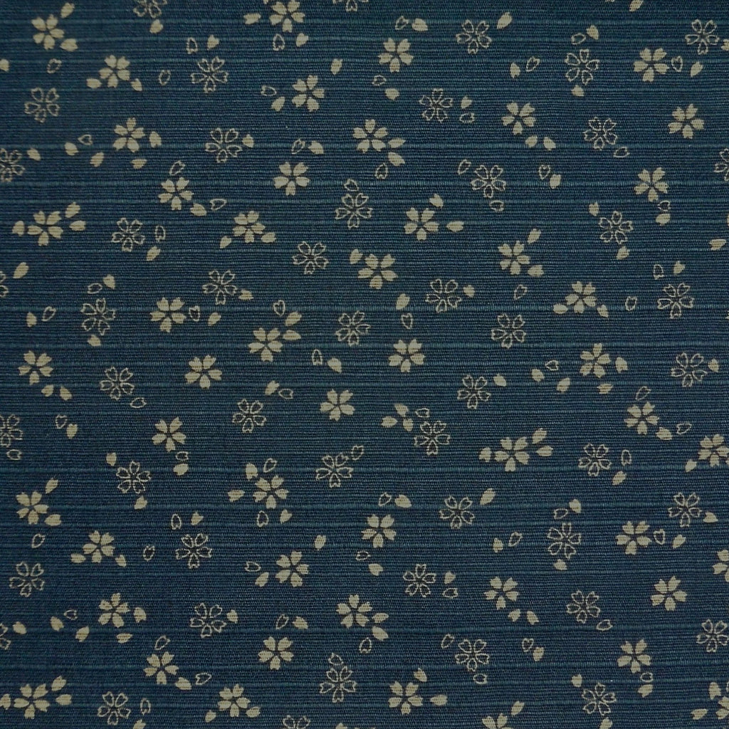 Japanese Dobby Cloth - Navy Blue Reversible Cherry Blossom