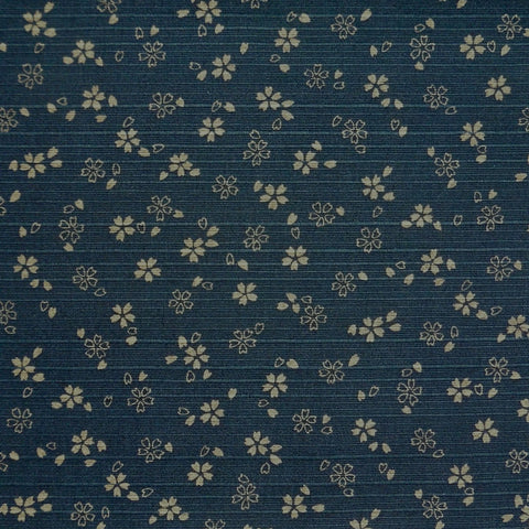 Japanese Dobby Cloth - OVERSTOCK - Navy Blue Reversible Cherry Blossom/Brown Hemp Leaf