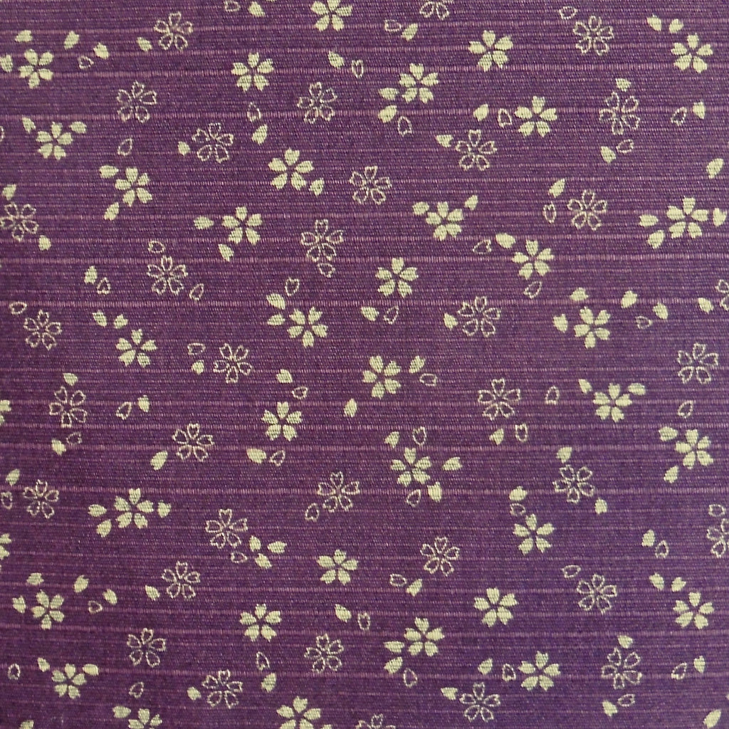 Japanese Dobby Cloth - Purple Reversible Cherry Blossom/Navy Hemp Leaf