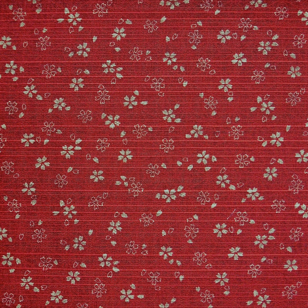 Japanese Dobby Cloth - Reversible Red Cherry Blossom/Black Hemp Leaf