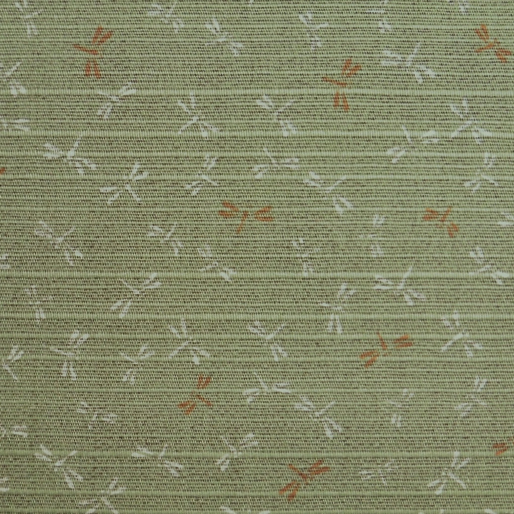 Japanese Dobby Cloth - Reversible Green Dragonfly/Brown Pebble