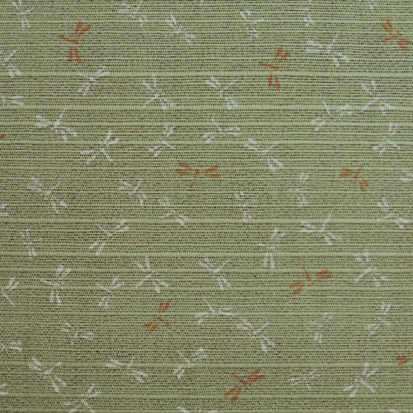 Japanese Dobby Cloth - Green Reversible Dragonfly/Brown Reversible Pebble
