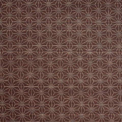 Japanese Dobby Cloth - OVERSTOCK - Brown Reversible Hemp Leaf/Navy Cherry Blossom