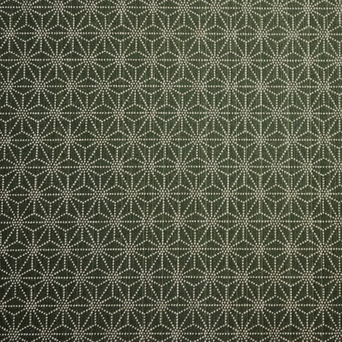 Japanese Dobby Cloth - Reversible Dark Green Hemp Leaf/Gold Cherry Blossom