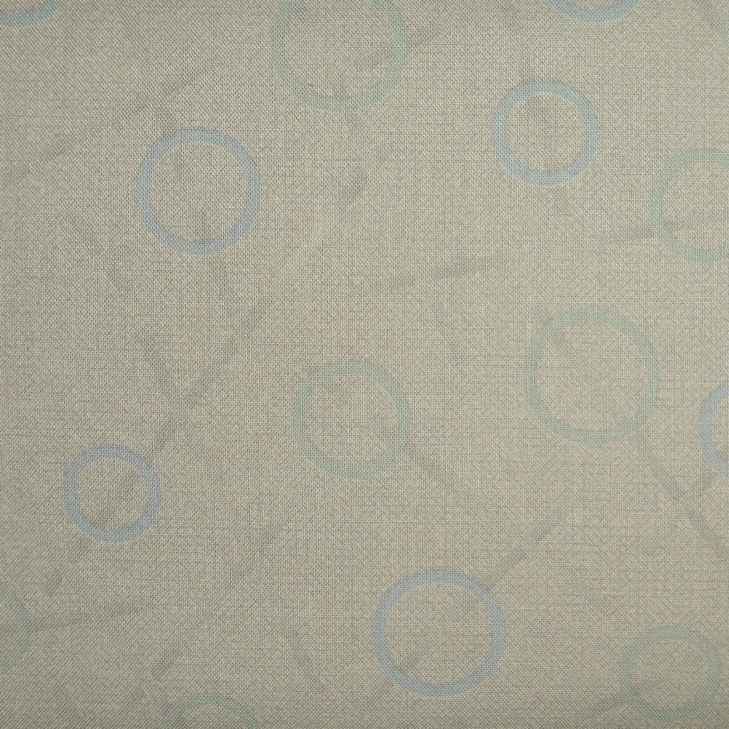Japanese Quilting Print - Blue Rings on Greenish Beige