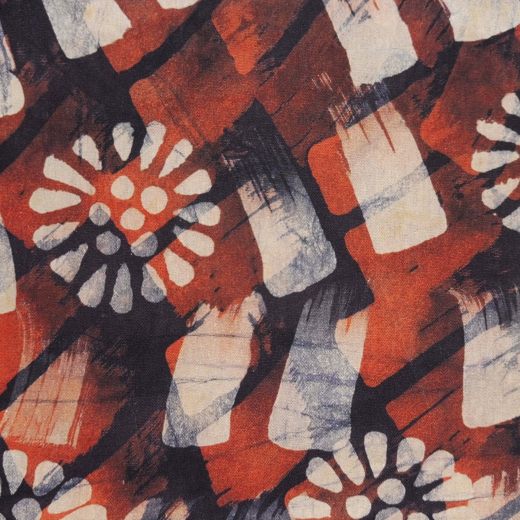 Tanzanian Batik - Rust Flower and Brush