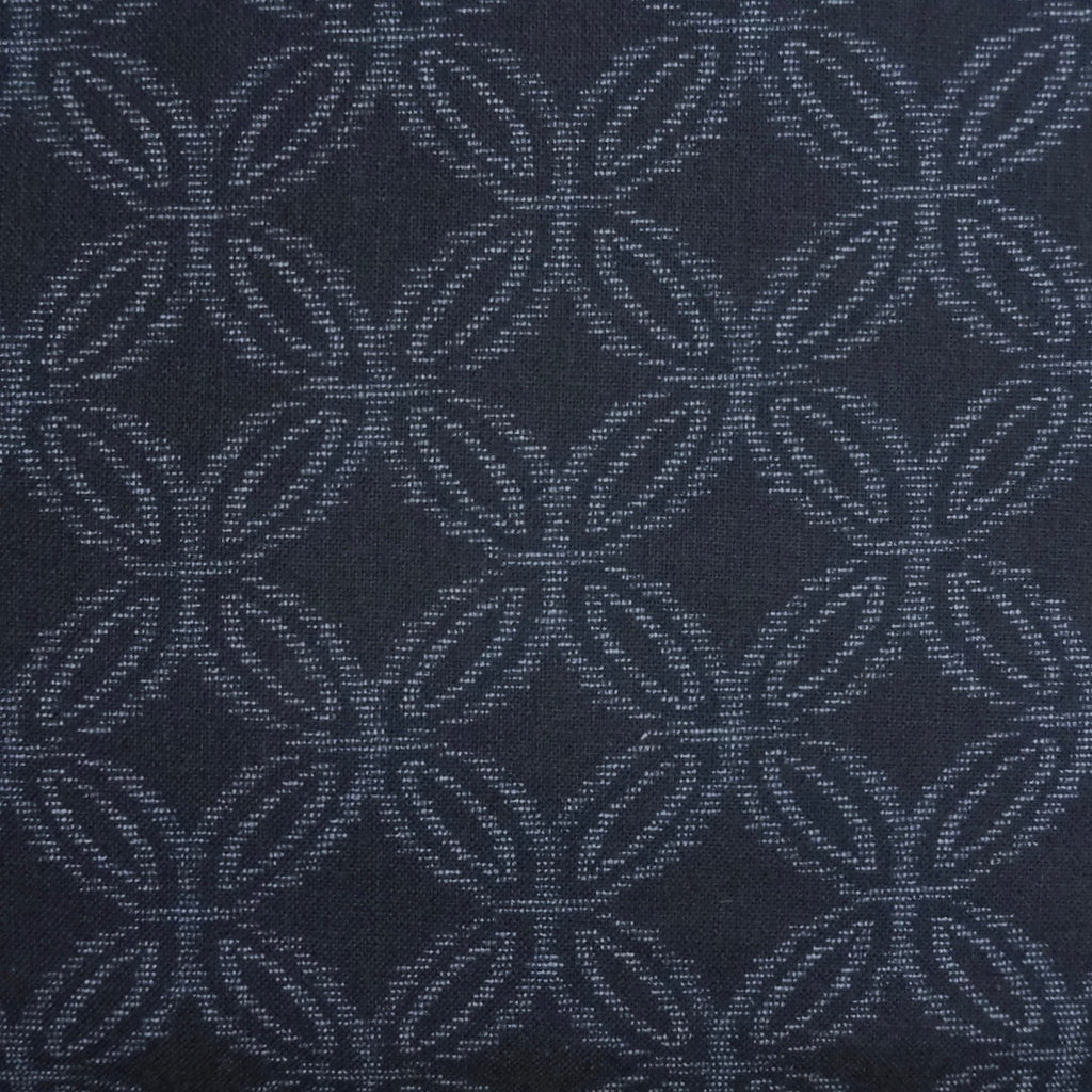 Japanese Quilting Print - Dark Blue Kasuri Seven Treasures