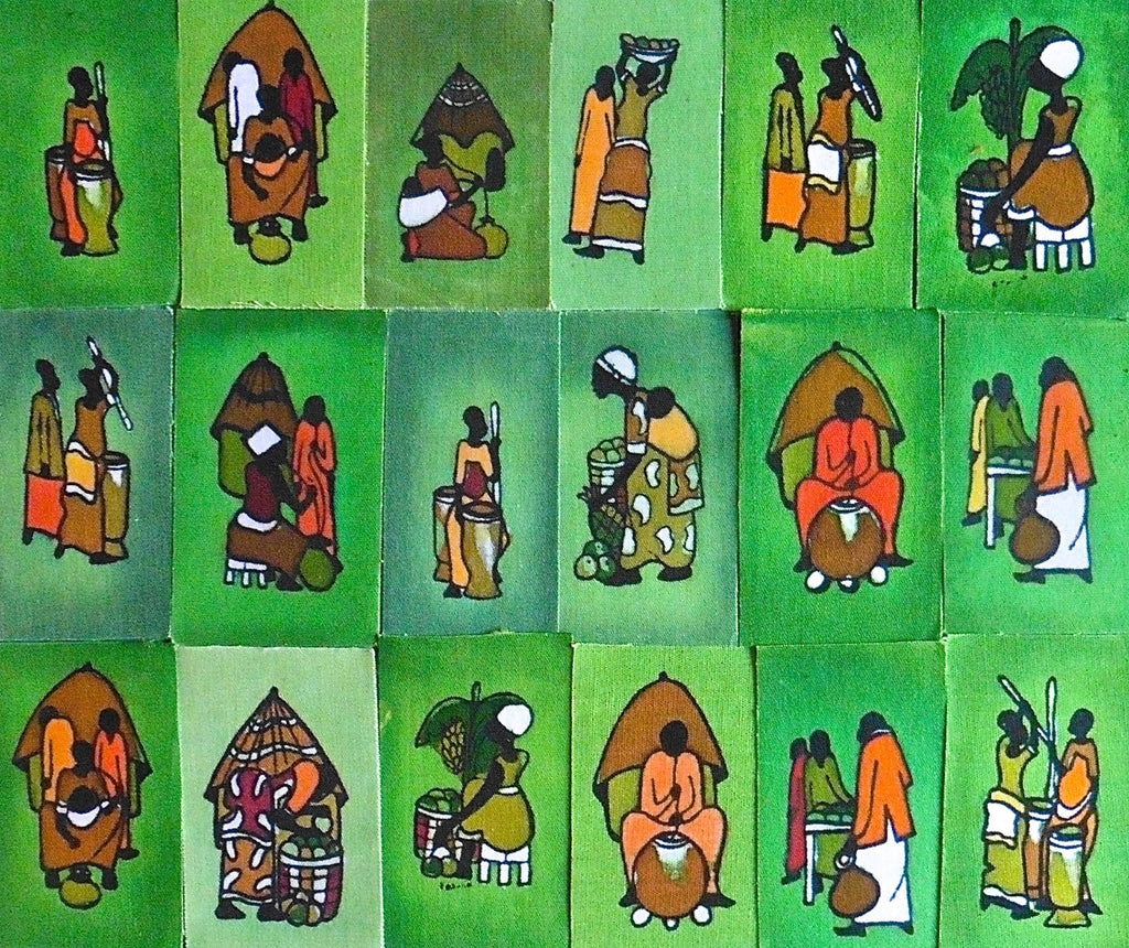 Ugandan Batik Art - Small Green Batik