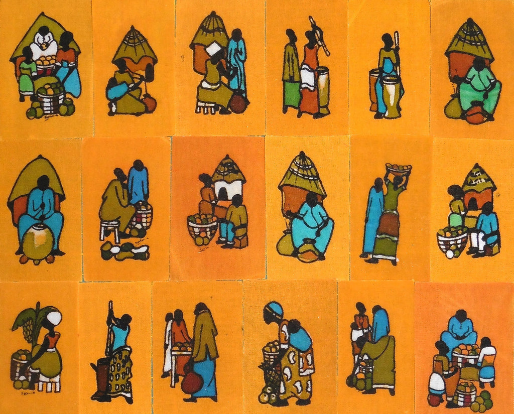Ugandan Batik Art - Small Yellow Batik