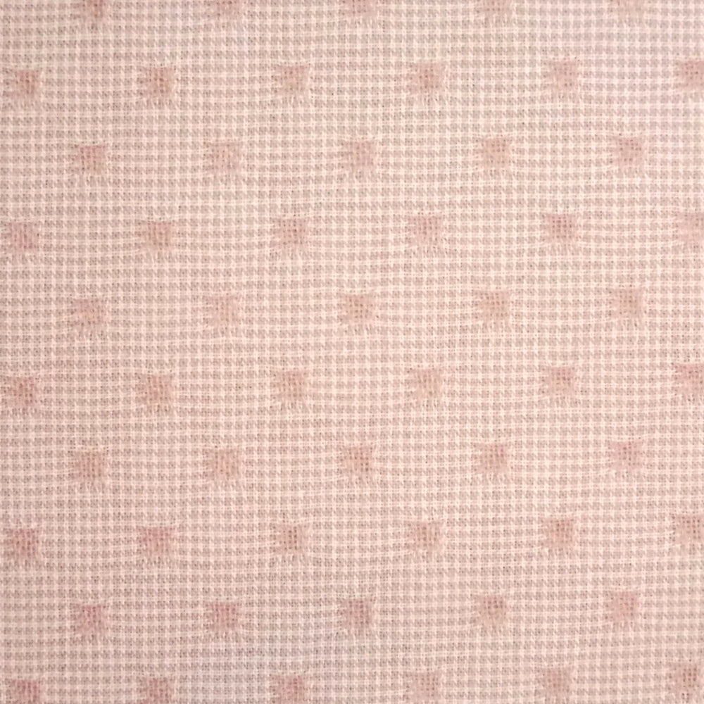 Japanese Yarn Dye - Pink Embroidered Squares