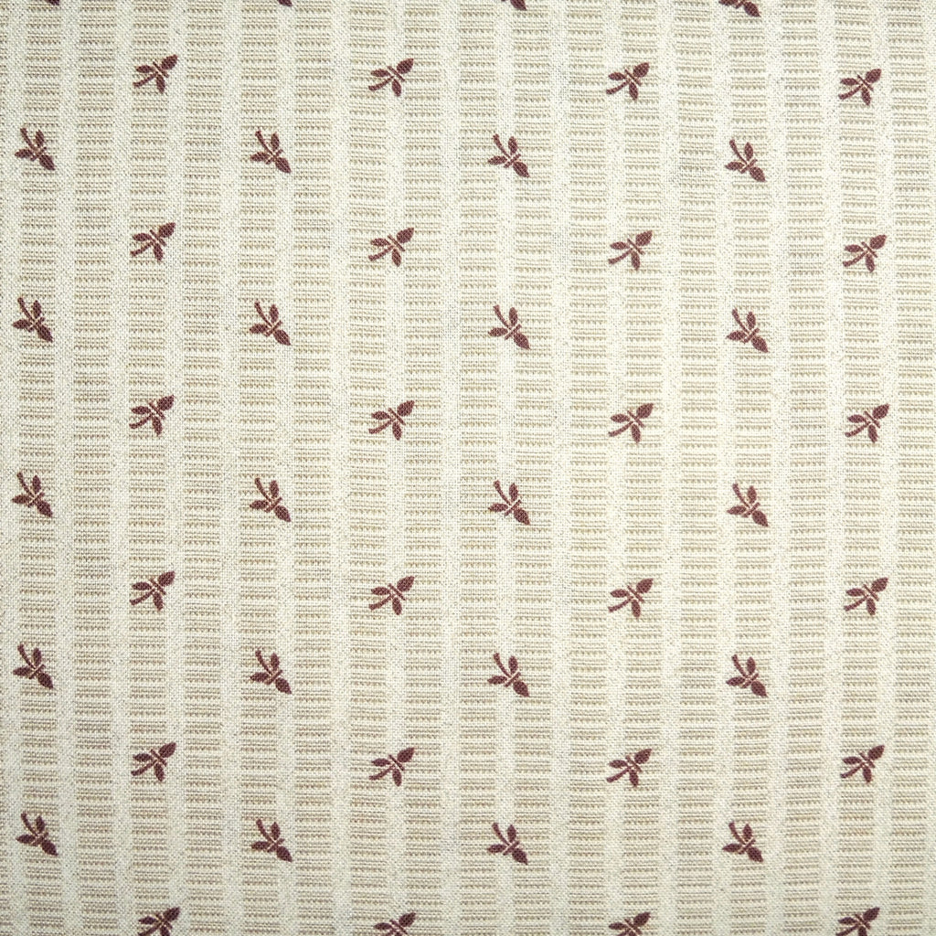 Japanese Quilting Print - Tan Bud on Stripe