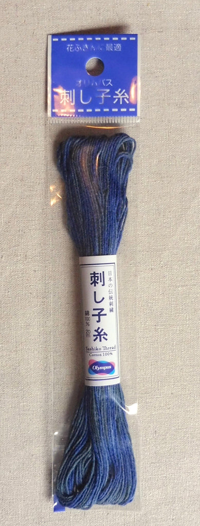 Sashiko Thread - 20 m. of Thick Variegated Blue