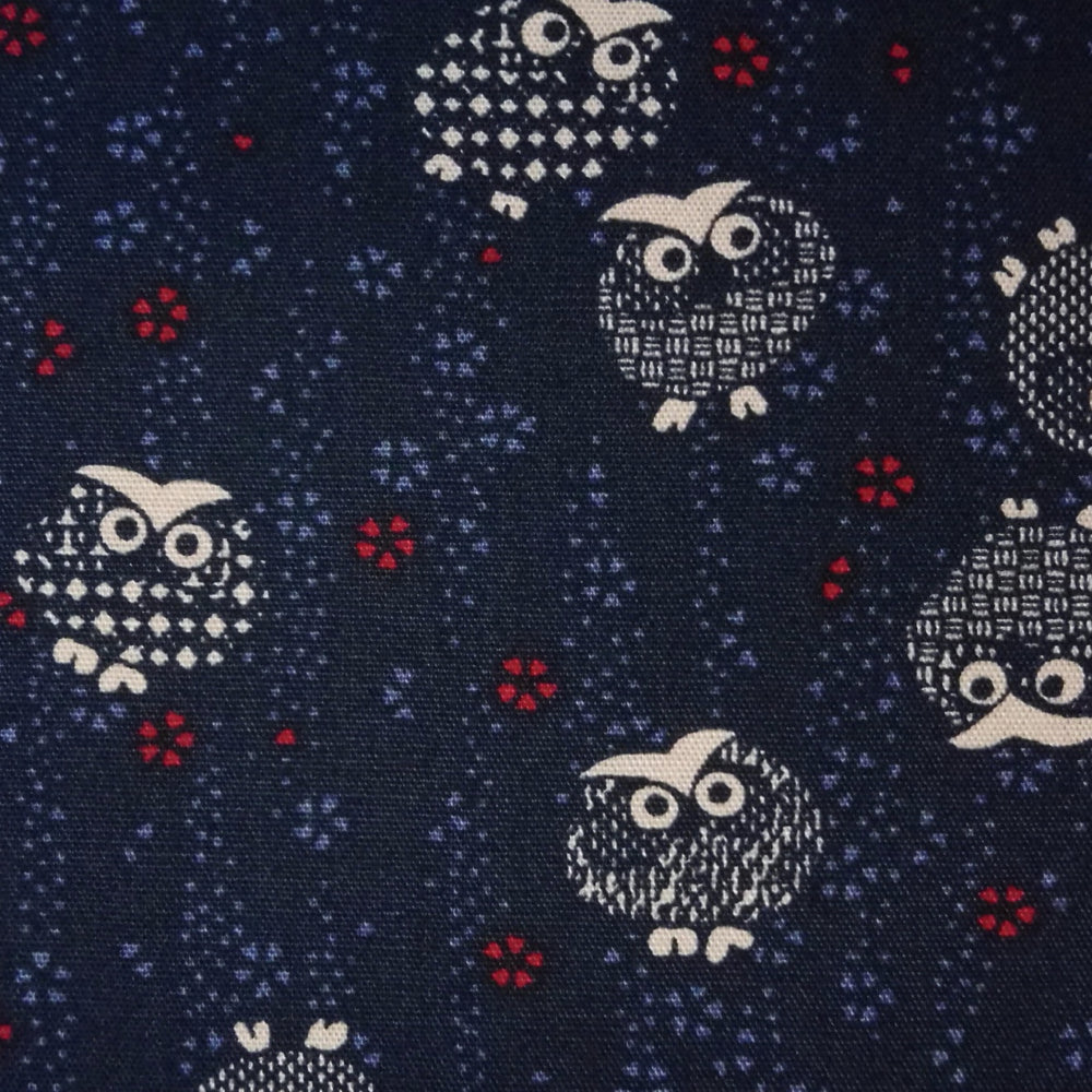 Japanese Quilting Print - Dark Blue Dotty Owls