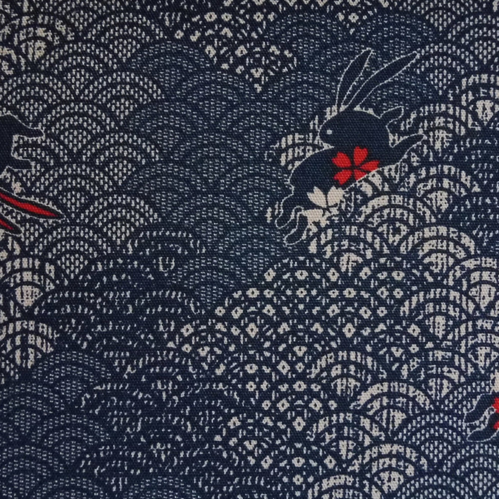 Japanese Quilting Print - Navy Blue Leaping Rabbits