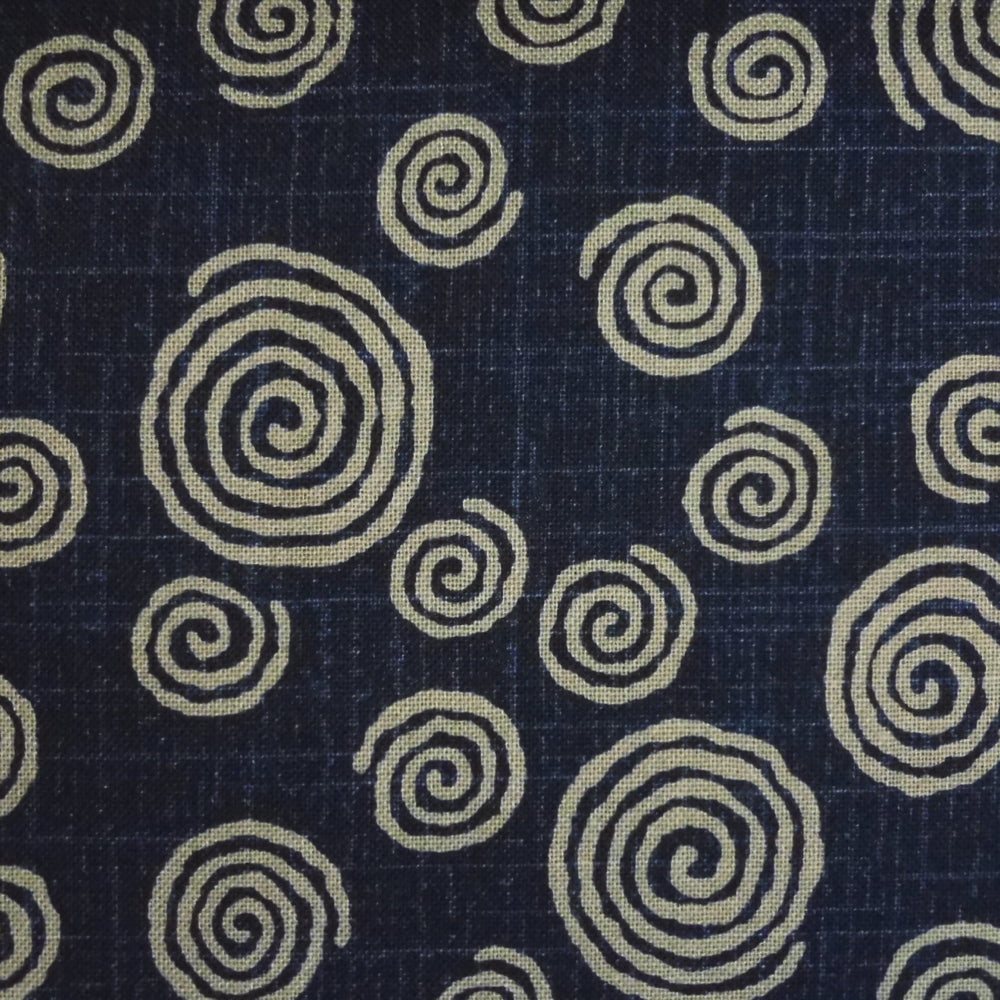 Japanese Quilting Print - Dark Blue Swirl