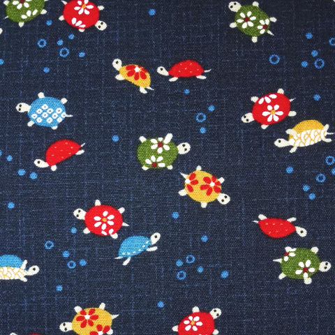 Japanese Quilting Print - Navy Blue Turtles