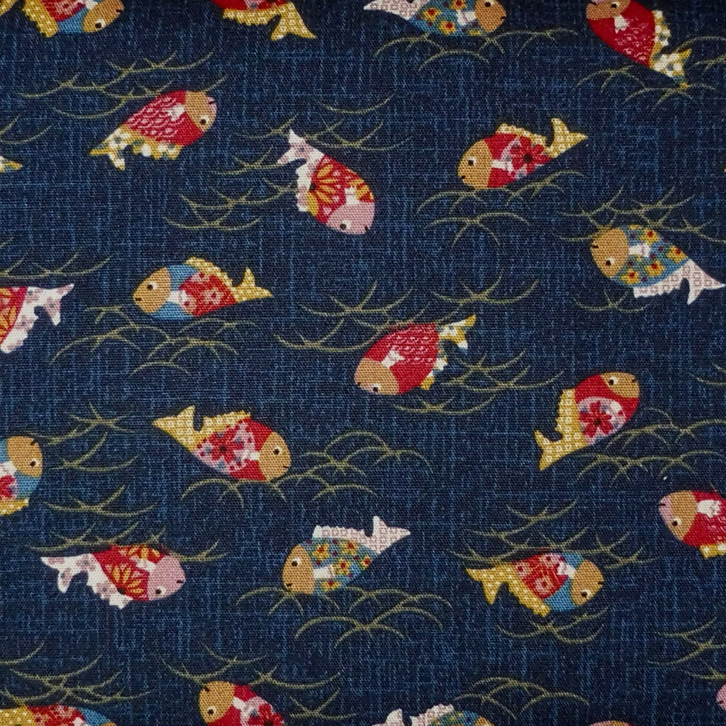 Japanese Quilting Print - Dark Blue Fish