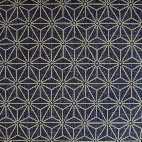 Japanese Quilting Print - Navy Blue Hemp Leaf