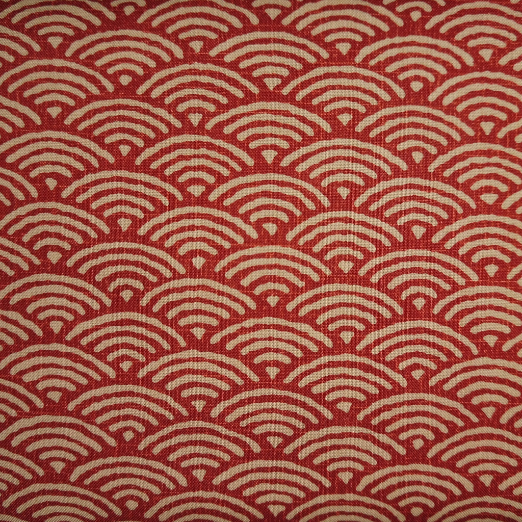 Japanese Quilting Print - Barn Red Ocean Wave