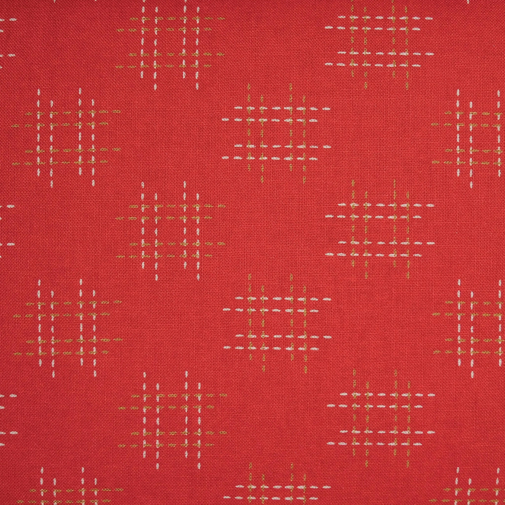 Japanese Quilting Print - Red Stitched Well Curb