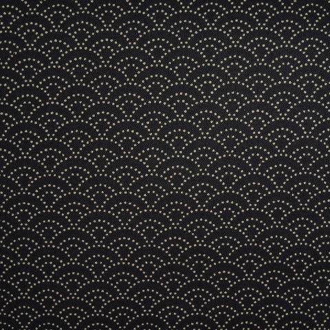 Japanese Quilting Print - Black Dotty Ocean Wave