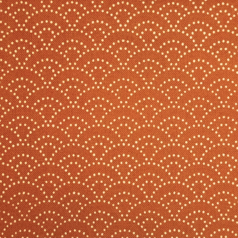 Japanese Quilting Print - Orange Dotty Waves