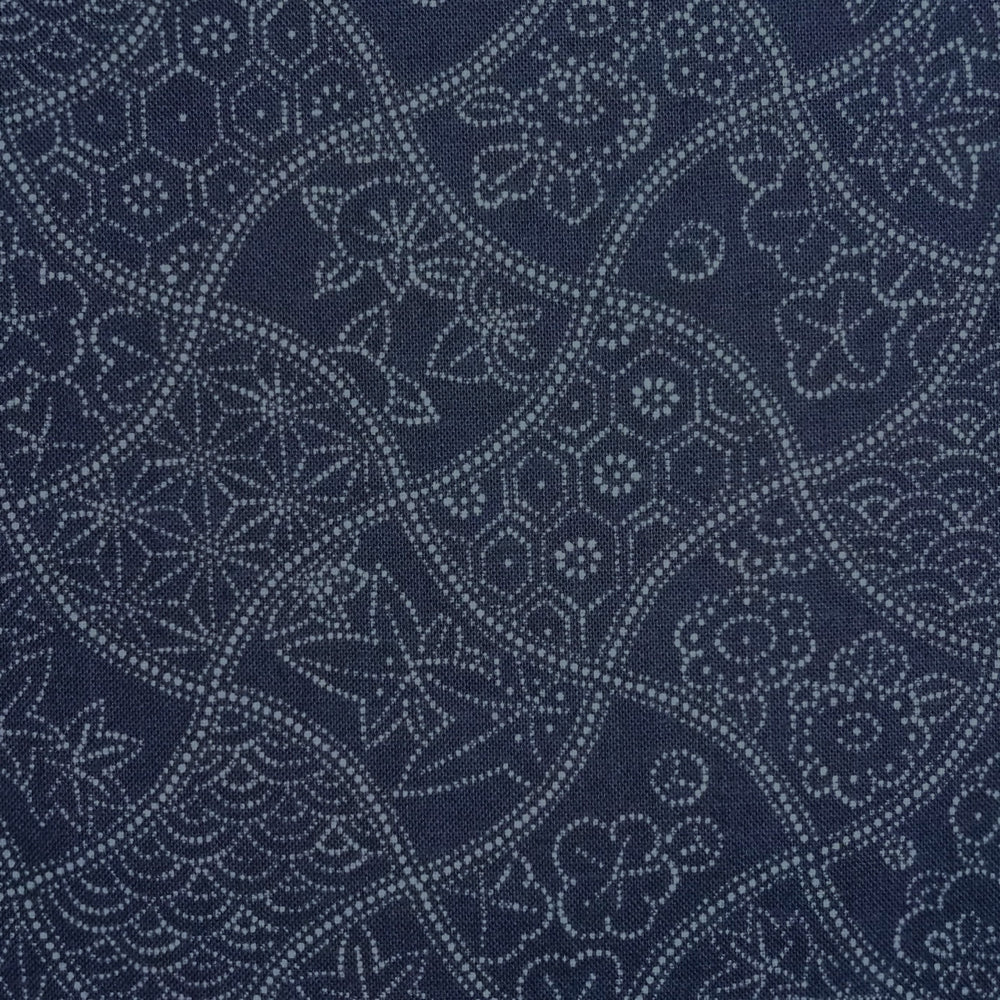Japanese Quilting Print - Blue Wavy Floral