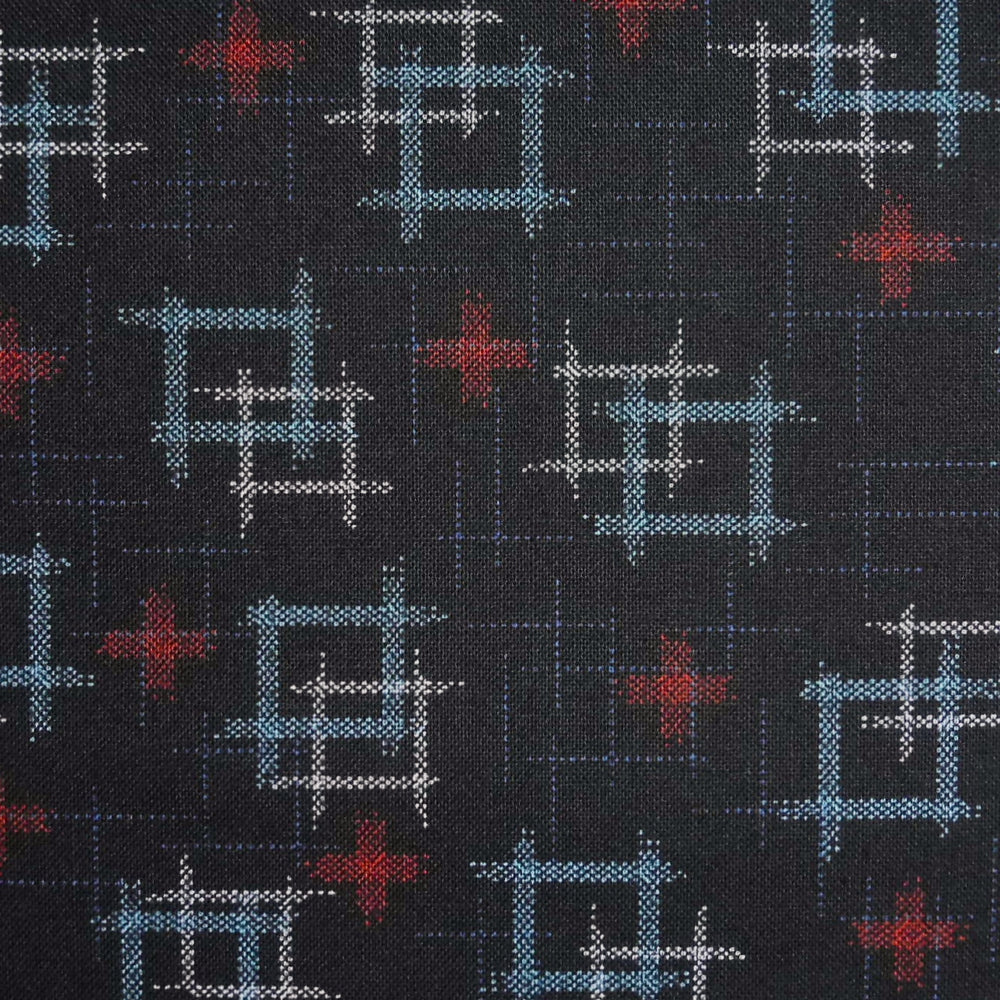 Japanese Quilting Print - Very Dark Blue and Red Double Well Curb