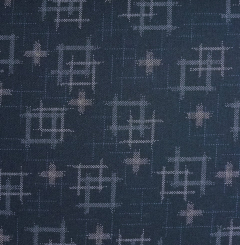 Japanese Quilting Print - Dark Blue Double Well Curb