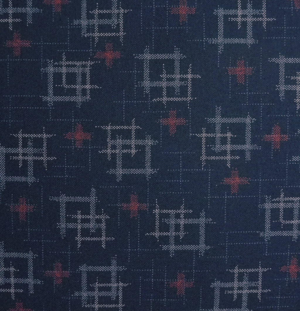 Japanese Quilting Print - Dark Blue and Red Double Well Curb