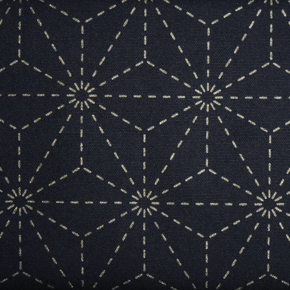 Sashiko Fabric - Dark Blue Hemp Leaf