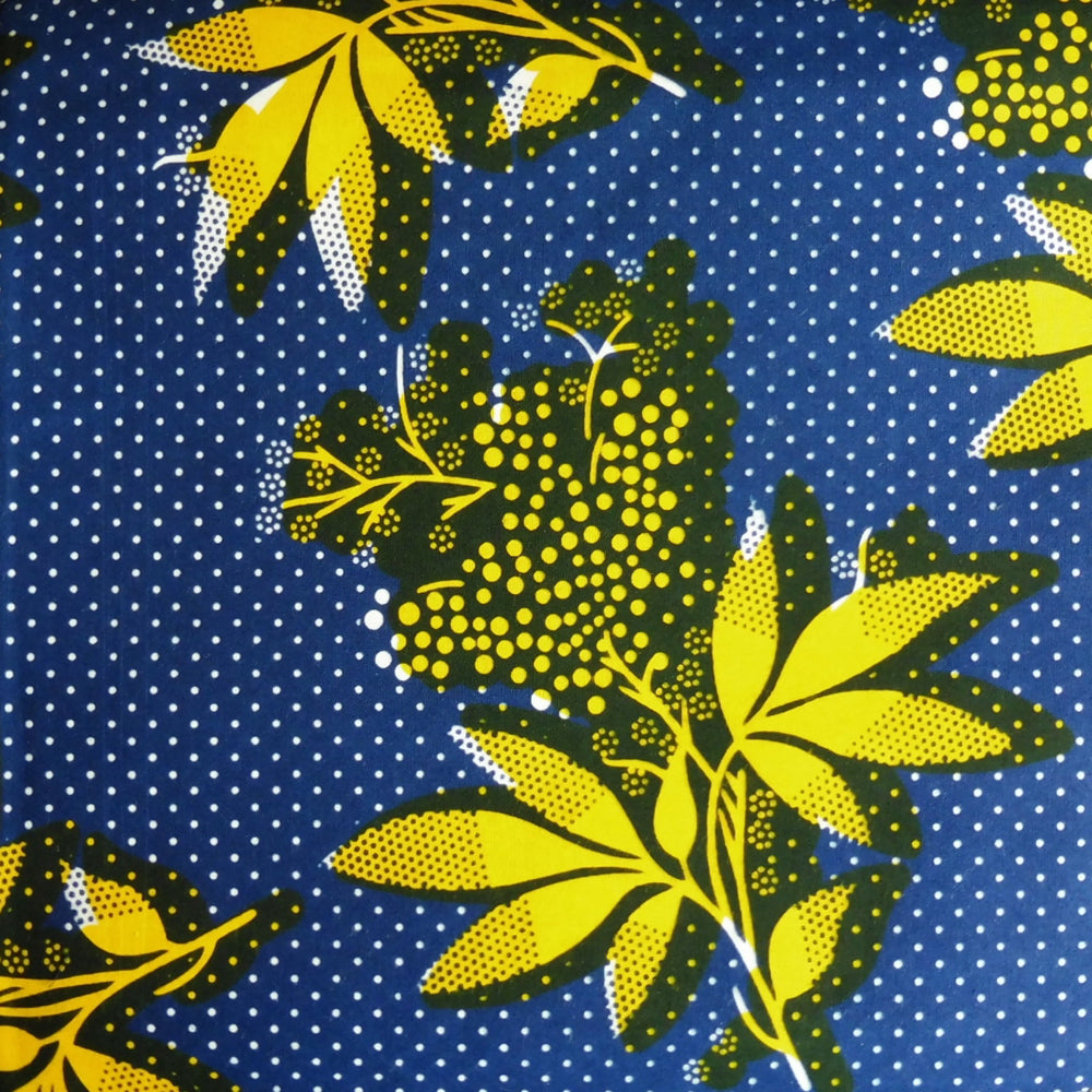 West African Print - Yellow Flowers on Dotty Blue