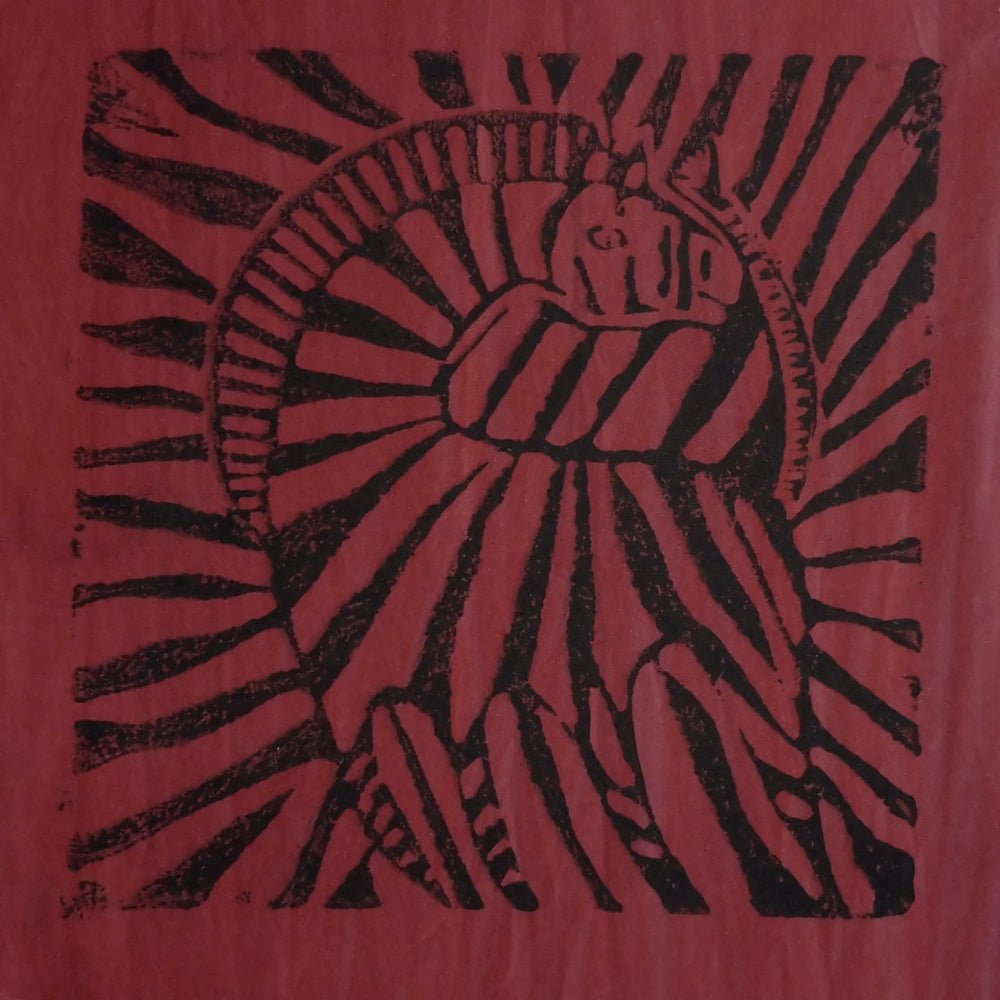 South African Panel - Zebra in Dark Red