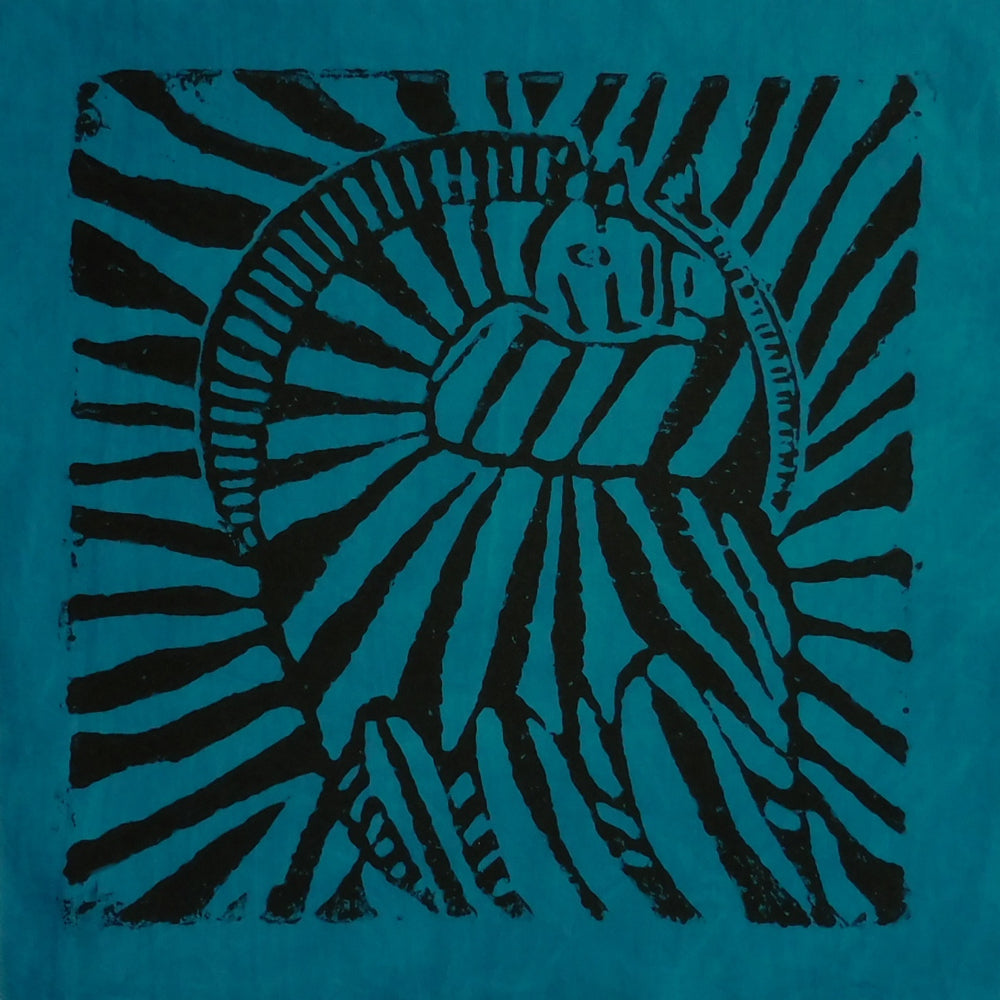 South African Panel - Zebra in Teal