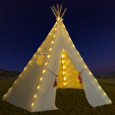 Nature's Blossom Kids Teepee Tent with 5 Poles, Pentagon Shaped, Off-White, X-Large.