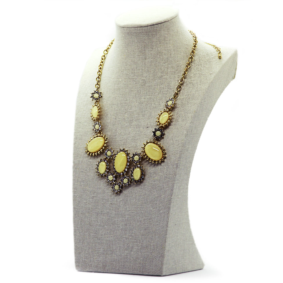 Šumivé: Encrusted Milky Stone Statement Necklace. Fashion Jewelry by Nando Medina