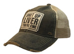 """Shut Up Liver Your Fine"" Distressed Trucker Cap"