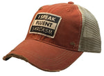 """I Speak Fluent Sarcasm"" Distressed Trucker Cap"