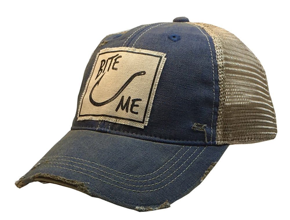 """Bite Me"" Distressed Trucker Cap"