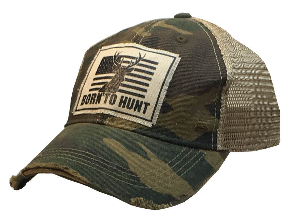 """Born To Hunt""  Men's Distressed Trucker Cap"