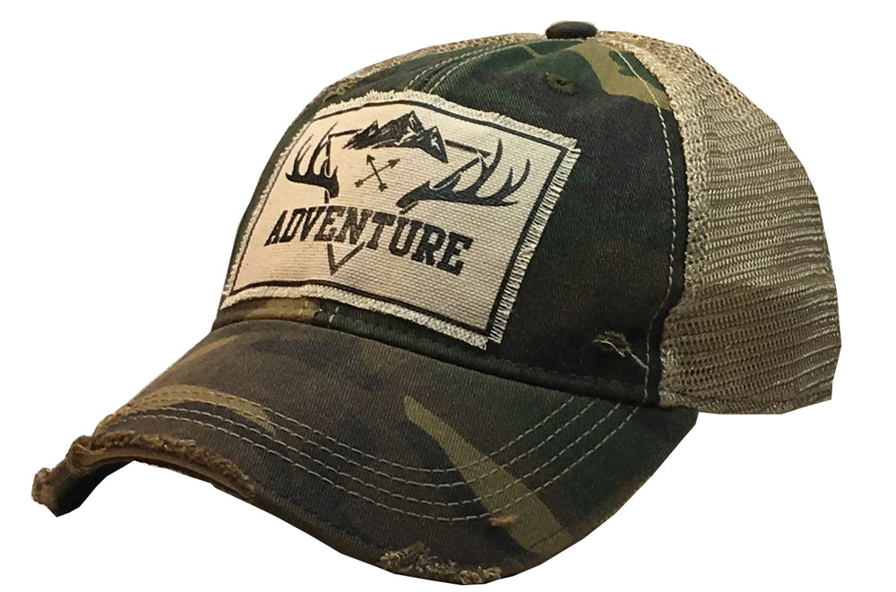 """Adventure"" Distressed Trucker Cap"