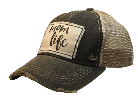 """Mom Life""  Women's Vintage Distressed Trucker Baseball Cap"