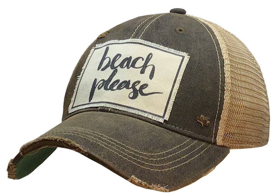 """Beach Please"" Distressed Trucker Cap"